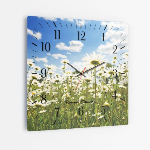 Ox Eye Daisies II - Square Glass Clock